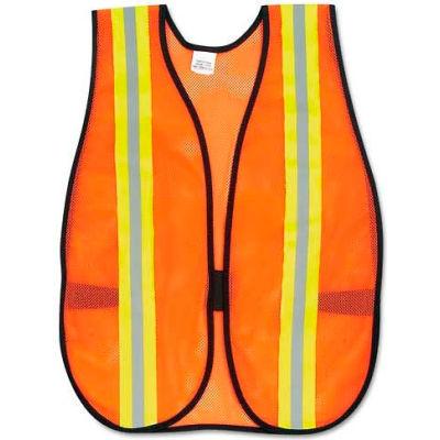 "MCR Safety V201R Orange Safety Vest, 2"" Reflective Strips, Polyester, Side Straps, One Size"