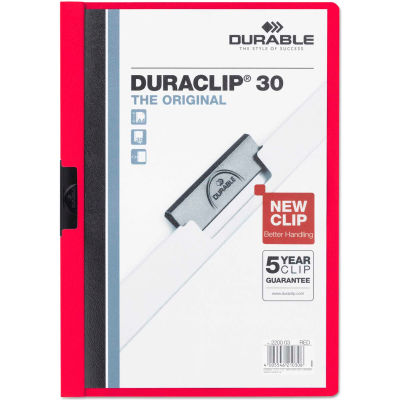 Durable® Vinyl DuraClip Report Cover w/Clip, Letter, Holds 30 Pages, Clear/Red