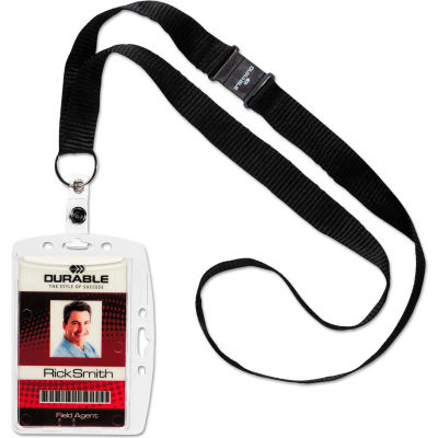 Durable® Shell-Style ID Card Holder, Vertical/Horizontal, With Necklace, Clear, 10/Pack