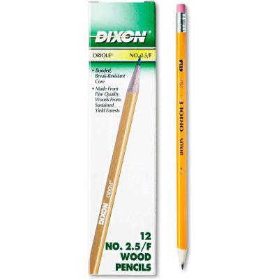 Dixon® Oriole Pencil, F (#2.5), Black Lead, Yellow Barrel, Dozen