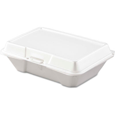 """Hinged Lid Foam Food Containers 6-2/5"""" x 9-3/10"""" x 2-9/10"""" - 200 Pack"""