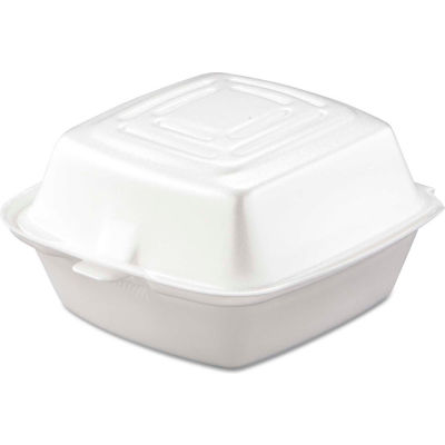 """Hinged Lid Foam Food Containers 5-1/2"""" x 5-3/8"""" x 2-7/8"""" - 400 Pack"""