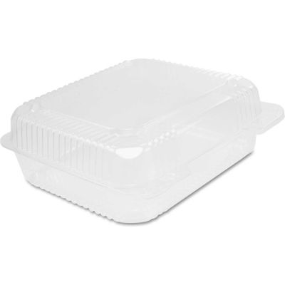 """Hinged Lid Plastic Containers 7-3/4"""" x 8-3/8"""" x 3"""" - 250 Pack"""