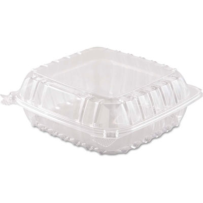 """Hinged Lid Plastic Containers 8-3/10"""" x 8-3/10"""" x 3"""" 1 Compartment - 250 Pack"""