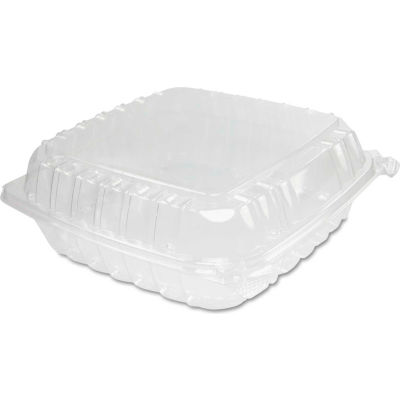 """Hinged Lid Plastic Containers 9"""" x 9-1/3"""" x 3"""" 1 Compartment - 200 Pack"""