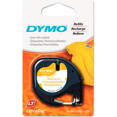 """DYMO® LetraTag Fabric Iron-On Labels, 1/2"""" x 6-1/2 ft, White"""