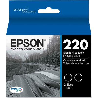 Epson® T220120D2 (220) DURABrite Ultra Ink, Black, 2/Pk