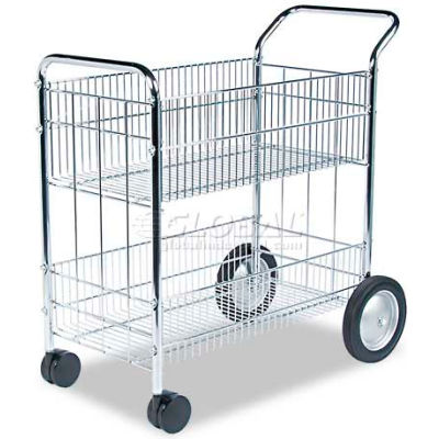 Fellowes® 40912 Chrome Wire Mail Cart 37.5 x 21.5 x 39.5