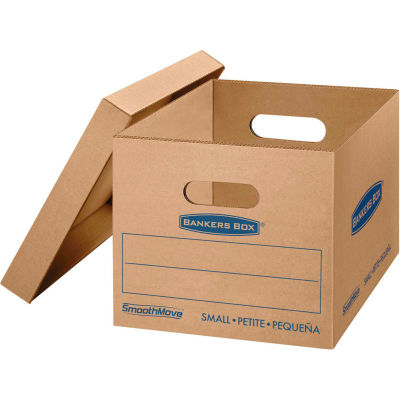 "Bankers Box® SmoothMove Classic Small Moving Boxes, 15""L x 12""W x 10""H, Kraft/Blue, 15/CTN"