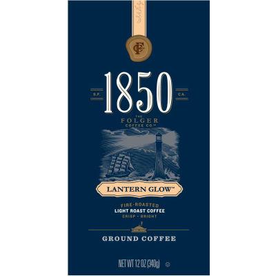 1850 Coffee, Lantern Glow, Light Roast, Ground, 12 oz Bag, 6/Carton