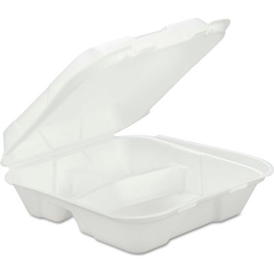 """Hinged Lid Foam Food Containers 9-1/4"""" x 9-1/4"""" x 3"""" 3 Compartments - 200 Pack"""