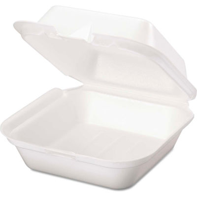 """Hinged Lid Foam Food Container 6-2/5"""" x 6-2/5"""" x 3"""" 1 Compartment - 500 Pack"""