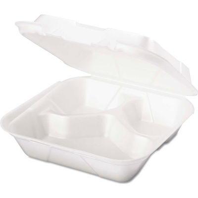 """Hinged Lid Foam Food Container 8-1/4"""" x 8"""" x 3"""" 1 Compartment - 200 Pack"""