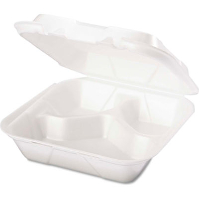 """Hinged Lid Foam Food Container 8-1/4"""" x 8"""" x 3"""" 3 Compartment - 200 Pack"""