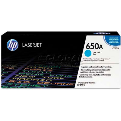 HP CE271A (HP 650A) Toner Cartridge, 15000 Page-Yield, Cyan