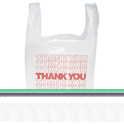 """Plastic Bag """"Thank You"""" With Handles 11-1/2"""" x 6-1/2"""" x 21"""" 12.5 Micron - 900 Pack"""