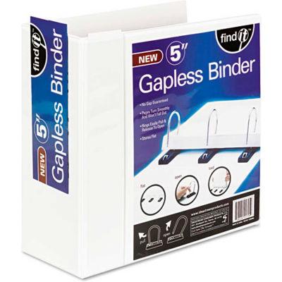 "find It™ Gapless Loop Ring View Binder, 11 x 8-1/2, 5"" Capacity, White"