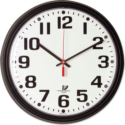 "Chicago Lighthouse Bold Quartz Contract Clock, 13-3/4"", Black"
