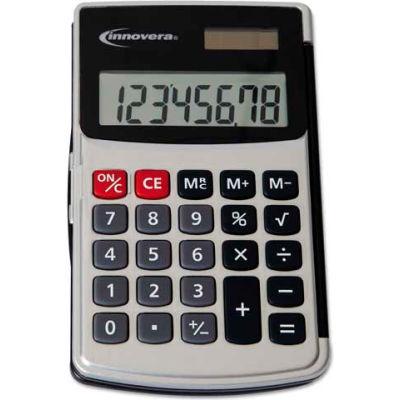 Innovera® Handheld Calculator, Hard Flip Case, 8-Digit LCD, Dual Power, Silver