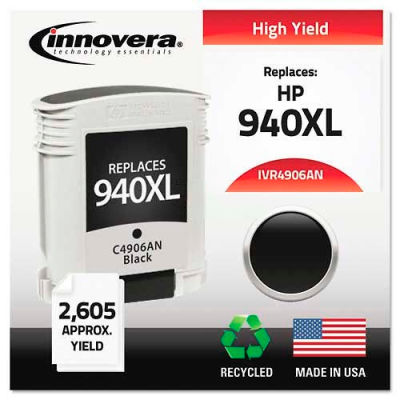 Innovera® 4906AN Compatible, Remanufactured, C4906AN (940XL) Ink, 2200 Page-Yield, Black