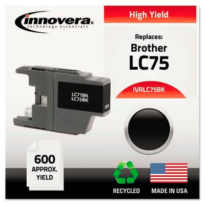 Innovera® Compatible Remanufactured High-Yield LC75B Ink, 600 Page-Yield, Black