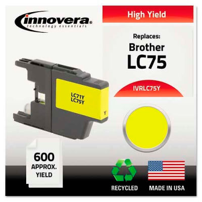 Innovera® Compatible Remanufactured High-Yield LC75Y Ink, 600 Page-Yield, Yellow