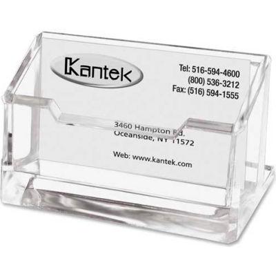 """Kantek Clear Acrylic Business Card Holder, 80-Card Capacity, 4""""W x 1 7/8""""D x 2""""H"""
