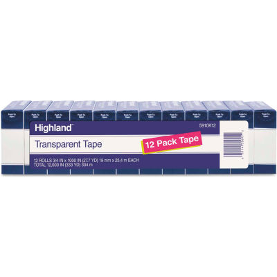 "Highland™ Transparent Tape, 3/4"" x 1000"", 1"" Core, Clear, 12/Pack"