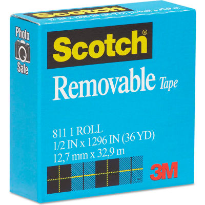 "Scotch® Removable Tape, 1/2"" x 1296"", 1"" Core"