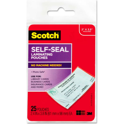 Scotch® Self-Sealing Laminating Pouches, 9.5 mil, 2 7/16 x 3 7/8, Business Card Size, 25