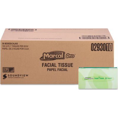 Marcal PRO® Recycled Facial Tissue, 2-Ply, 100/Box, 30 Boxes/Case - 2930