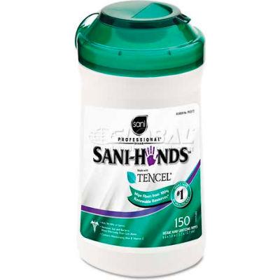 "Sani Professional San-Hands II Sanitizing Wipes, 5"" X 6"", White, 150/Can - NICP43572"