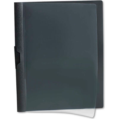Oxford® Polypropylene No-Punch Report Cover, Letter, Holds 30 Pages, Clear/Black