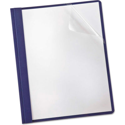 Oxford® Linen Finish Clear Front Report Cover, 3 Fasteners, Letter, Navy, 25/Box