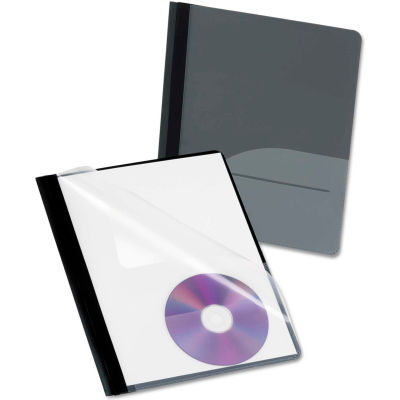 Oxford® Clear Front Report Cover, CD Pocket, 3 Fasteners, Letter, Black, 25/Box