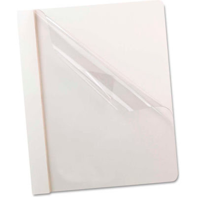 Oxford® Premium Paper Clear Front Cover, 3 Fasteners, Letter, White, 25/Box