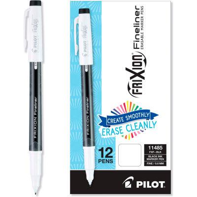 Pilot® FriXion Erasable Stick Marker Pen, 0.6 mm, Black Ink/Barrel, Dozen