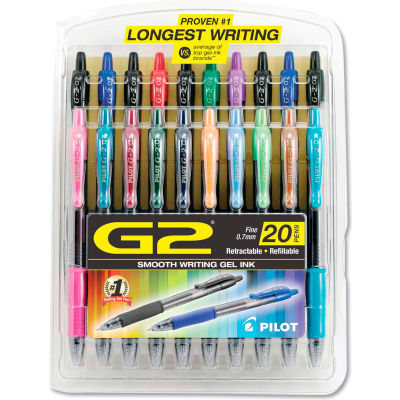 Pilot® G2 Premium Retractable Gel Pen, Fine 0.7mm, Assorted Ink/Barrel, 20/Set