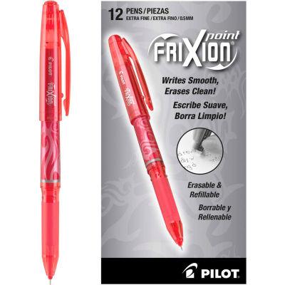 Pilot® FriXion Point Erasable Stick Gel Pen, Extra-Fine 0.5mm, Red Ink, Red Barrel, Dozen