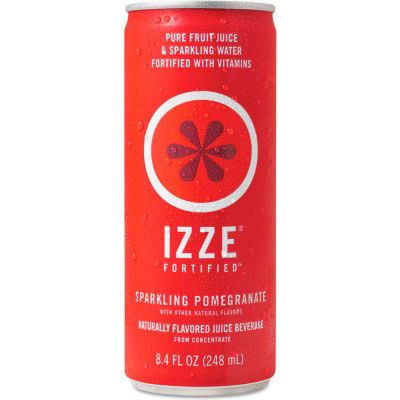 IZZE® Fortified Sparkling Juice, Pomegranate, 8.4 oz Can, 24/Carton