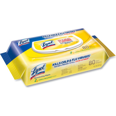 LYSOL® Disinfecting Wipes Flat Packs, Lemon and Lime Blossom, 80 Wipes/Flat Pack, 6 Packs/Case