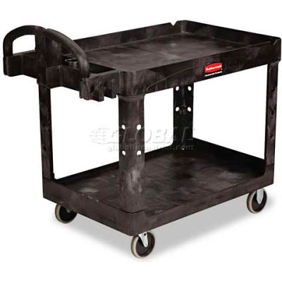 "Rubbermaid® Premium Universal Plastic Utility Cart, 2 Shelf, 45-1/4""Lx26""W, Black"
