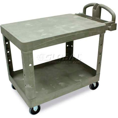 """Rubbermaid® Heavy Duty Plastic Flat Top Utility Cart, 2 Shelf, 34""""Lx16""""W, 5"""" Casters, Beige"""