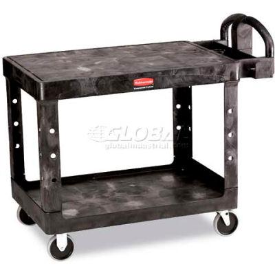 "Rubbermaid® Plastic Flat Top Utility Cart, 2 Shelf, 44""Lx25""W, 5"" Casters, Black"