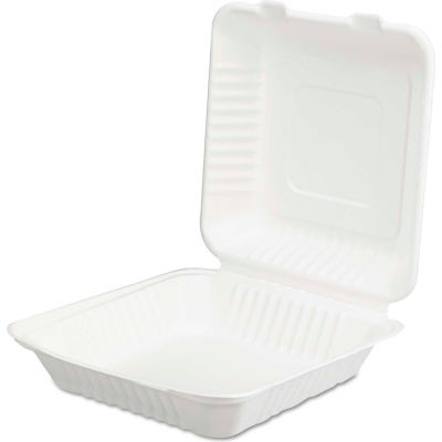 "Hinged Lid Compostable Sugarcane Fiber Containers 9"" x 3"" x 9""  - 200 Pack"
