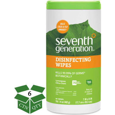"""Seventh Generation® Botanical Disinfecting Wipes, 7"""" x 8"""", 70 Wipes/Can, 6 Cans/Case - 22813"""
