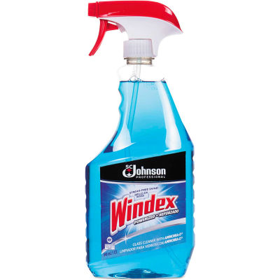 Glass Cleaner with Ammonia-D, 32 oz, Capped Bottle with Trigger, 12 Bottles - 695237
