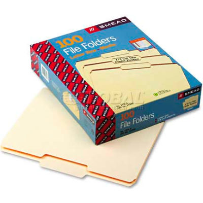 Smead® File Folders, 1/3 Cut Second Position, One-Ply Top Tab, Letter, Manila, 100/Box
