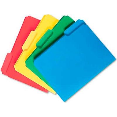 Smead® Waterproof Poly File Folders, 1/3 Cut Top Tab, Letter, Assorted, 24/Box