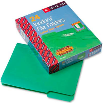 Smead® Waterproof Poly File Folders, 1/3 Cut Top Tab, Letter, Green, 24/Box